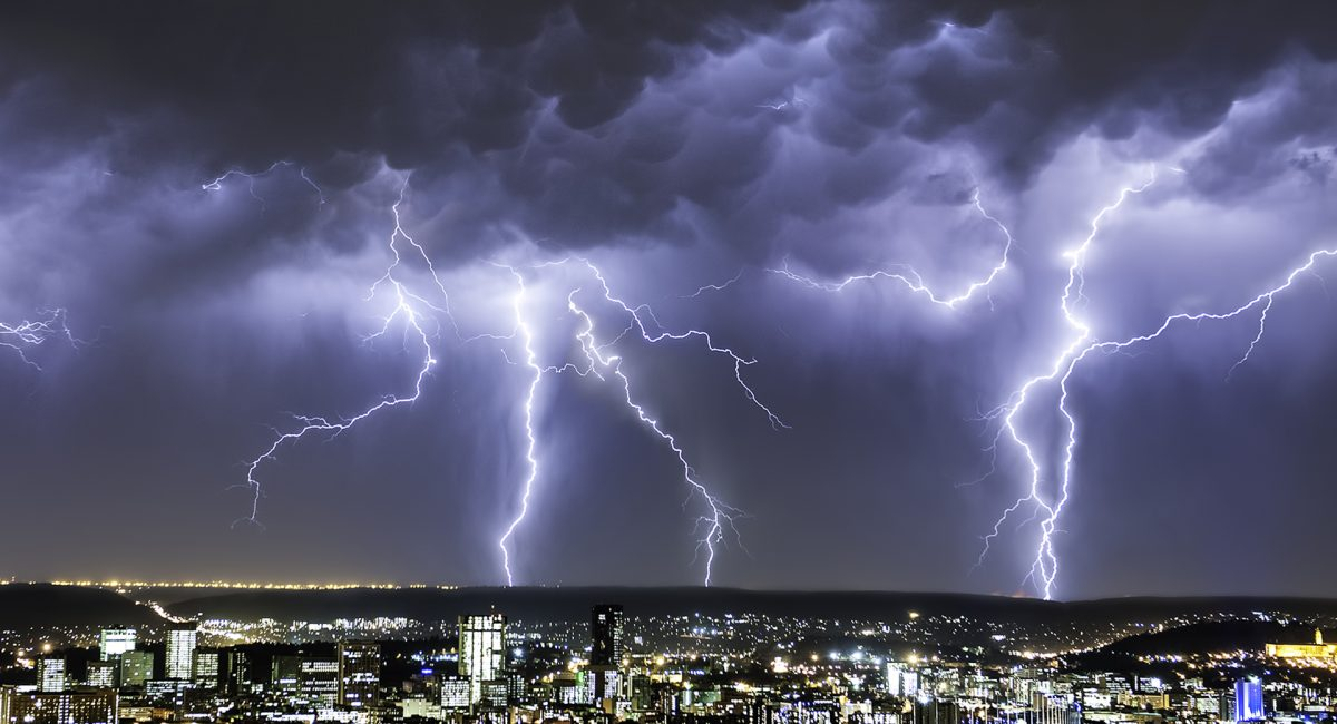 Massive Lightning Strikes From an Intense Summer Thunderstorm dwarfs the city of Pretoria, Gauteng Province, South Africa
